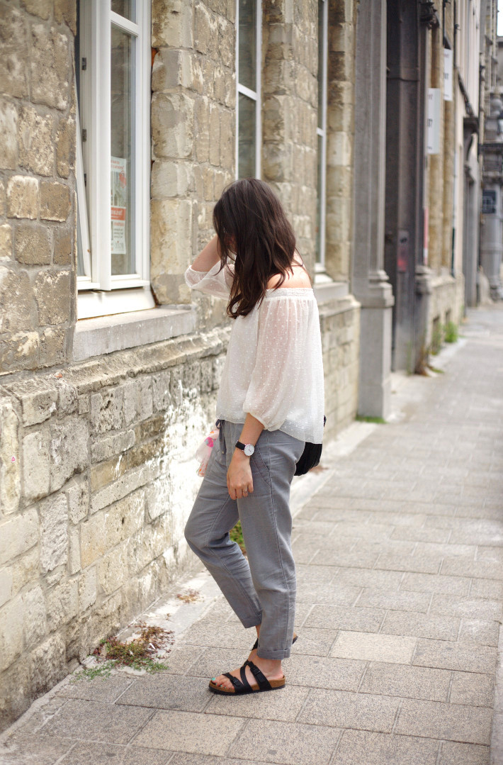 outfit: off the shoulder top, relaxed trousers, birkenstocks