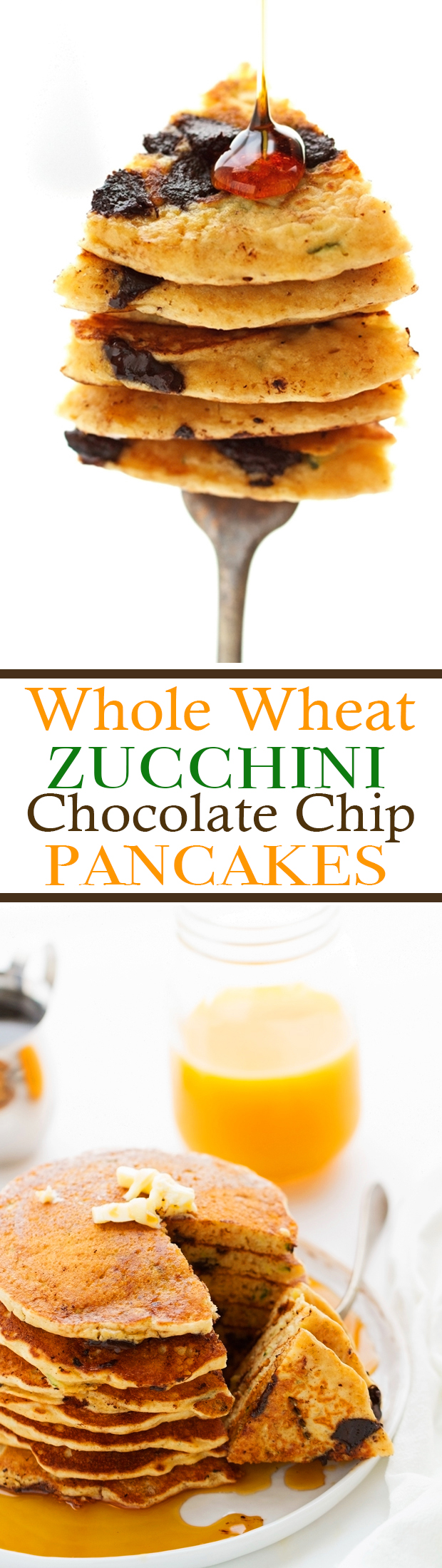 Fluffy Whole Wheat Zucchini Pancakes with Chocolate Chips - A healthier breakfast option loaded with zucchini and just a hint of chocolate chips! #chocolatechippancakes #healthypancakes #wholewheatpancakes   Littlespicejar.com @Littlespicejar