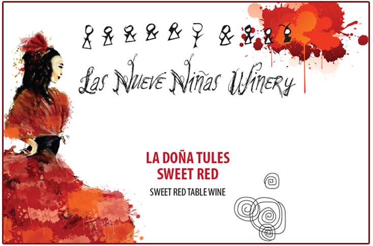 Las Nueve Niñas Winery wine label.