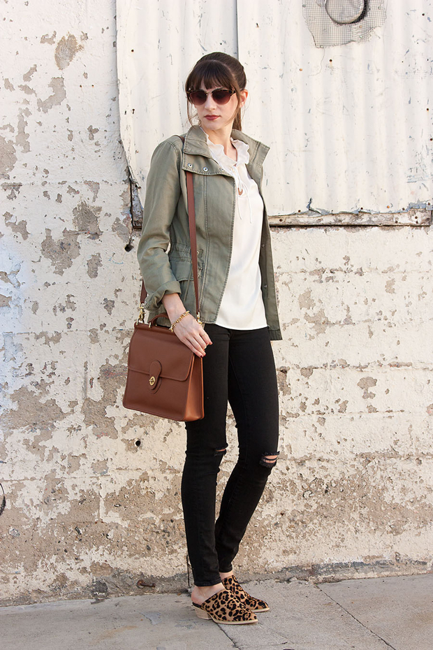 Gap Distressed Black Jeans, Coach WIllis Bag, Cargo Jacket