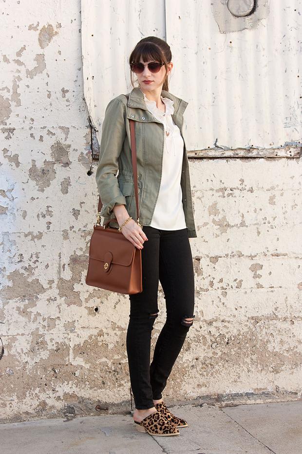 Gap Distressed Black Jeans, Coach WIllis Bag, Cargo Jacket
