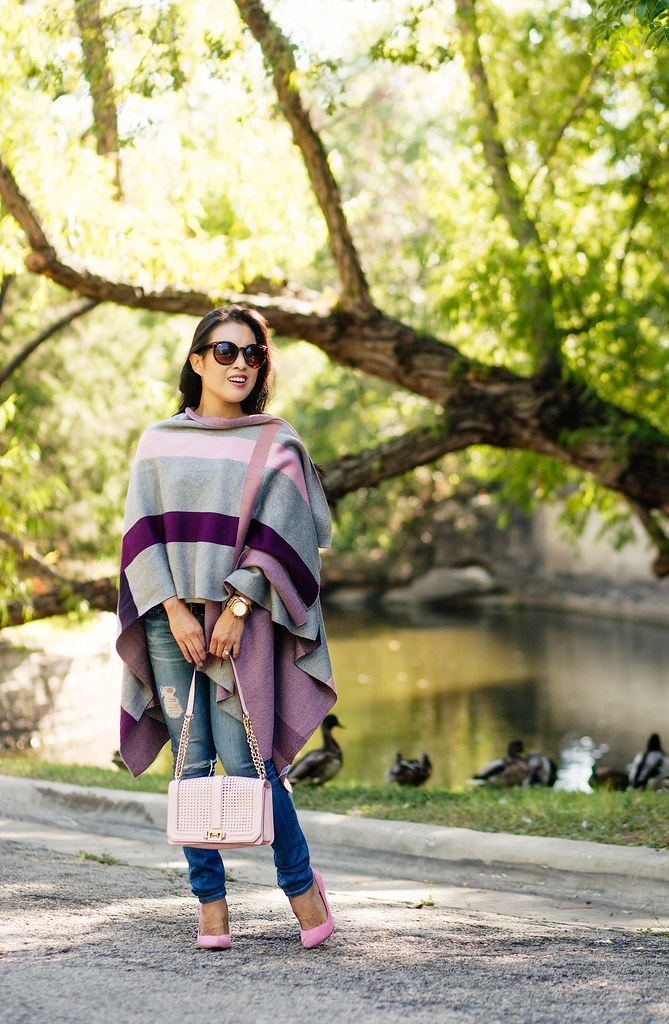 cute & little blog | petite fashion | talbots plaid wrap, minkoff pink love crossbody, pink pumps | fall winter outfit