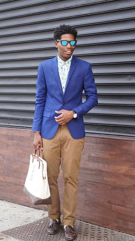 Blue Blazer, Floral Shirt, Mirrored Shades, Chinos - Style Society Gu