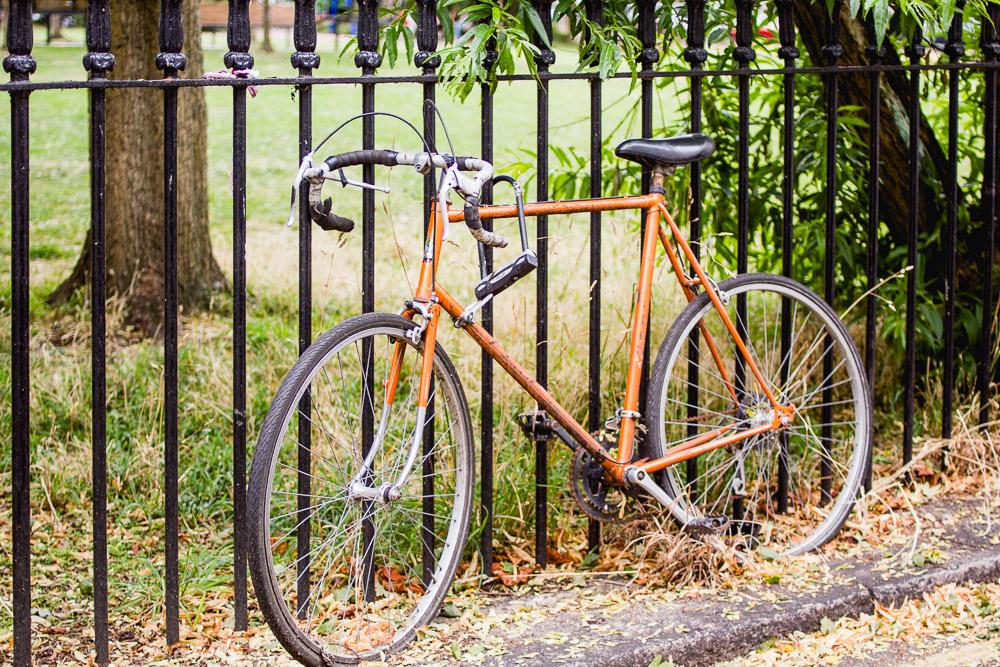 primrose hill london orange bike