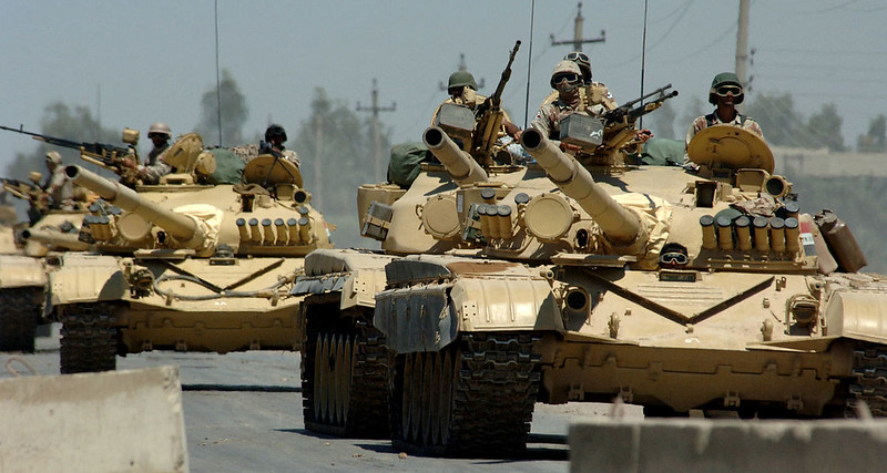 Iraqi tanks assigned to the Iraqi Army 9th Mechanized Division