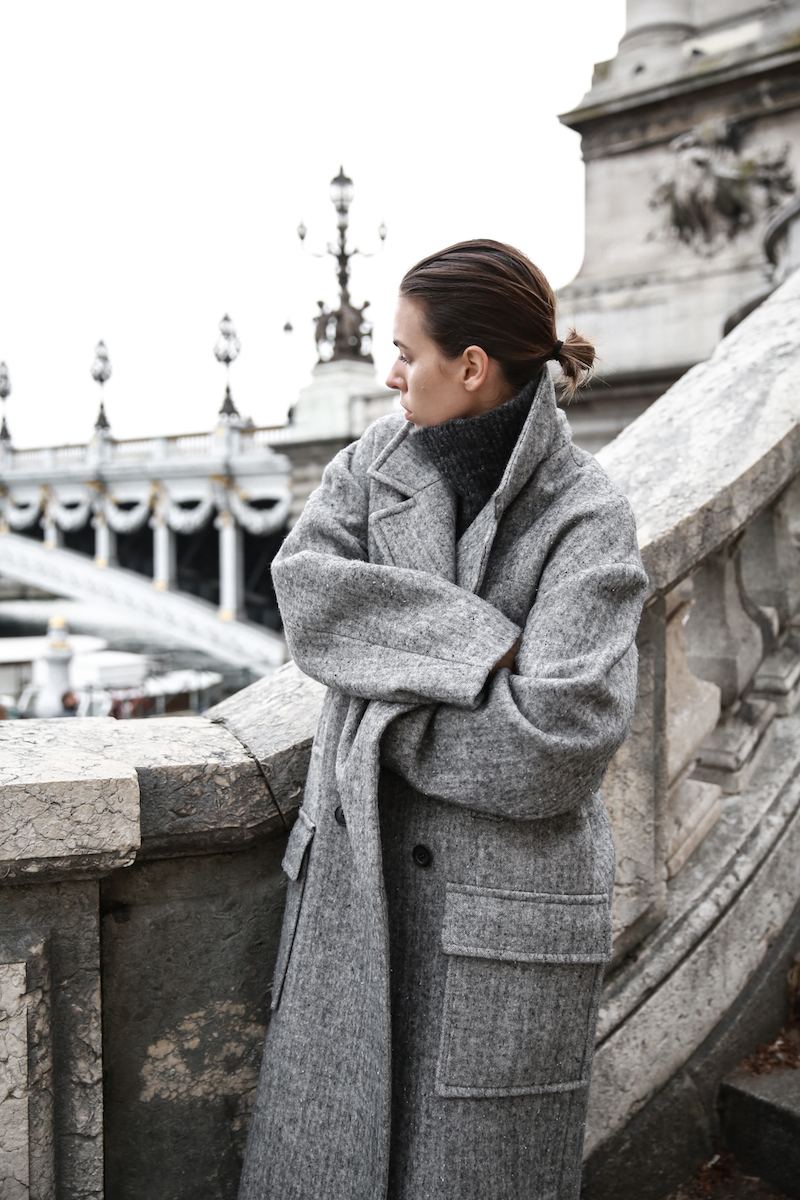 winter essentials, all grey, Paris, street style, turtleneck, comfort dressing, oversized coat, MODERN LEGACY x MATCHESFASHION.COM, Raey