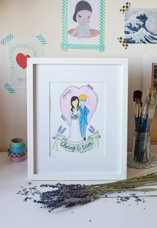 diamond canopy art illustration Chrissy and Dan wedding lavender