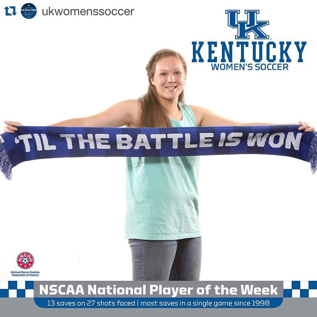 Congrats to Wildcat of the Week, Katelyn Jensen! The @ukwomenssoccer freshman was named the National Soccer Coaches Association of America's Division I Women's Soccer National Player of the Week. Jensen is the first Wildcat in the team's history to win th