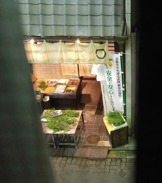 The view from our Kyoto flat - right on a pedestrian shopping arcade! And I have a micro kitchen!
