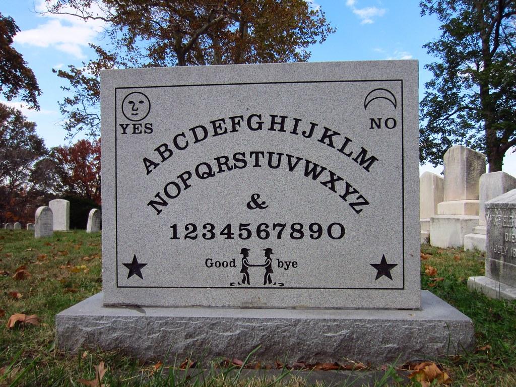 Ouija grave closeup