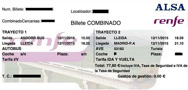 Decepción del combinado tren y autobús a Andorra - Billete de vuelta Andorra-Madrid