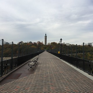 Image of High Bridge Water Tower. park nyc newyorkcity travel bridge autumn vacation newyork fall bronx fallcolors watertower parks aqueduct explore thebronx highbridgewatertower highbridge pedestrianbridge nycparks highbridgepark harlemriver bx crotonaqueduct nycbridge nycparksandrecreation bronxtomanhattan manhattantothebronx nycwalks