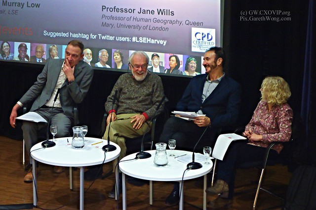 Prof David Harvey @profdavidharvey City University of New York witty discussion with Michael Storper @michaelstorper  LSE, UCLA & Jane Wills  Queen Mary, University of London chaired by humourous Murray Low @MurrayLow3 LSE from RAW _DSC2209 re Power of Id