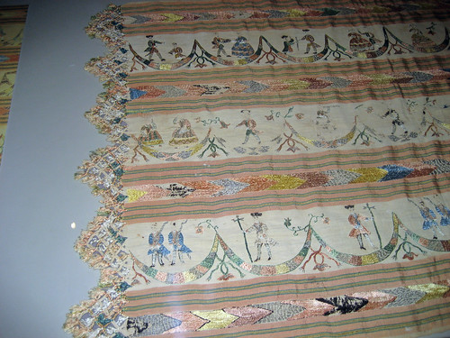 Mexican embroidered silk cotton rebozo 18th century Royal Ontario Museum exhibit