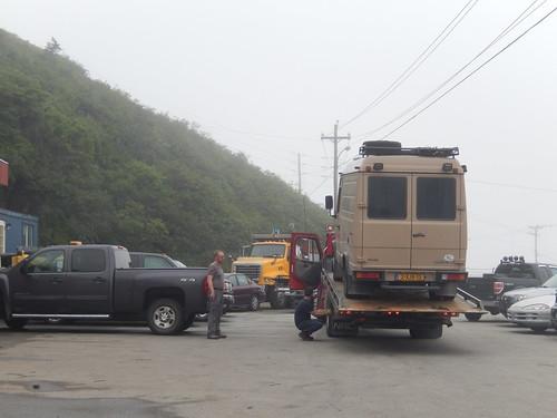 Port-aux-Basques - aankomst met sleepwagen