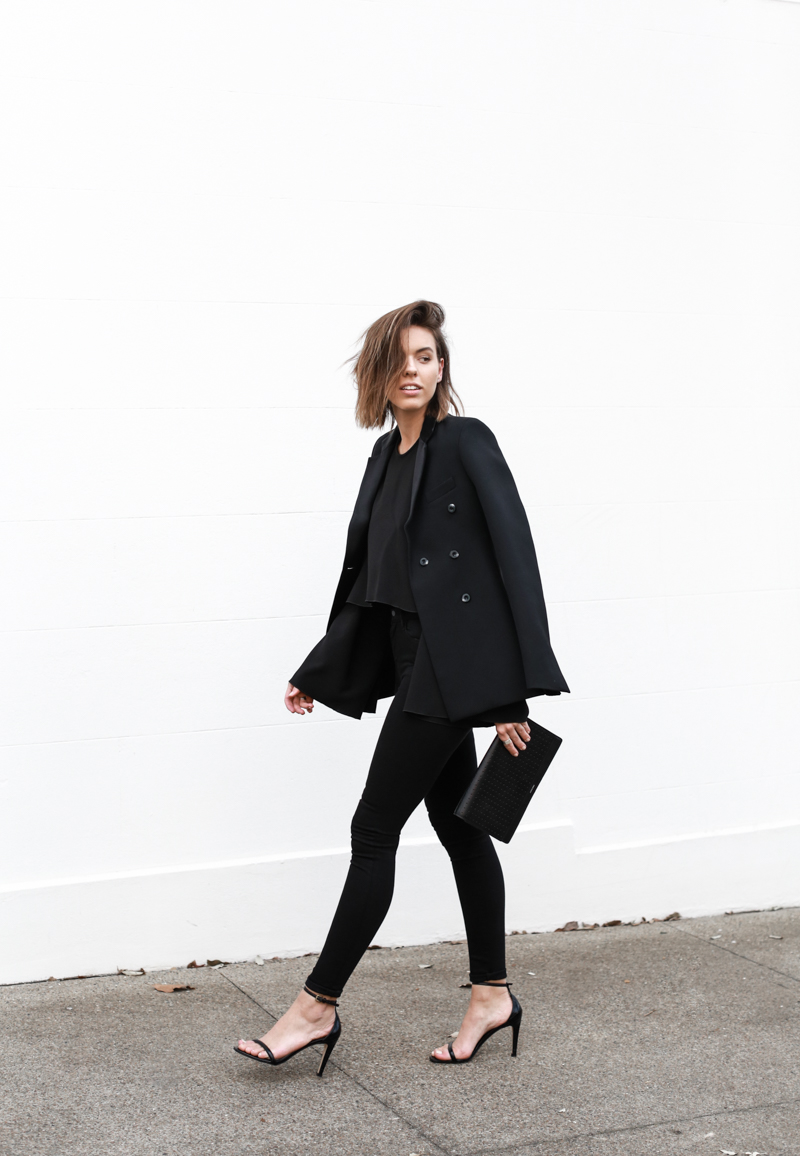 J Brand black skinny jeans, Ellery flare top, tuxedo blazer, all black, minimal, modern legacy, fashion blog, street style (1 of 1)
