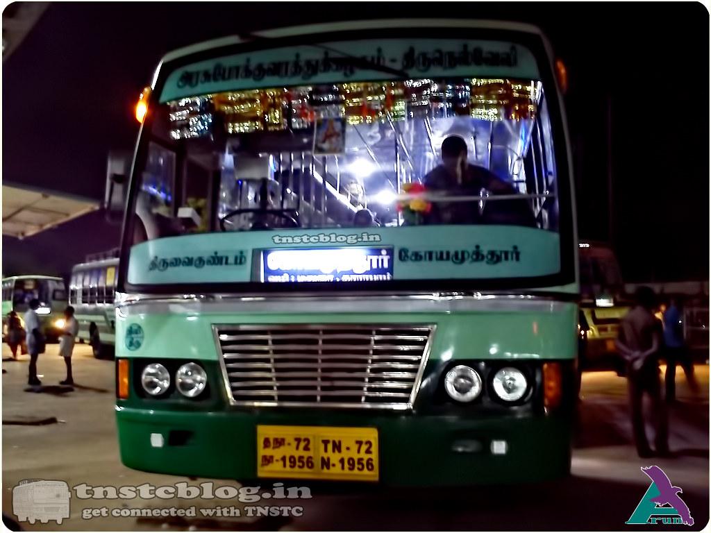 TN-72N-1956 of Srivaikundam Depot Route Srivaikundam Coimbatore via Thoothukudi, Madurai, Dharapuram, Palladam.