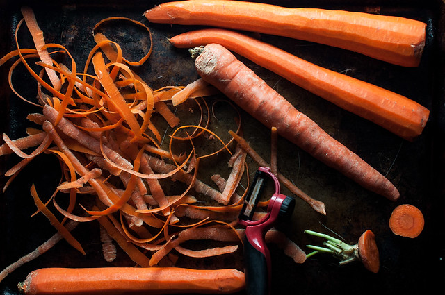 Carrots for carrot salad with spiced turmeric vinaigrette