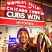 Wrigley Field marquee, me with Cubs W towel and my scorecard by spudart