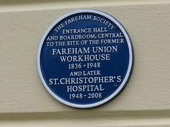 Photo of Fareham Union Workhouse and St. Christopher's Hospital blue plaque