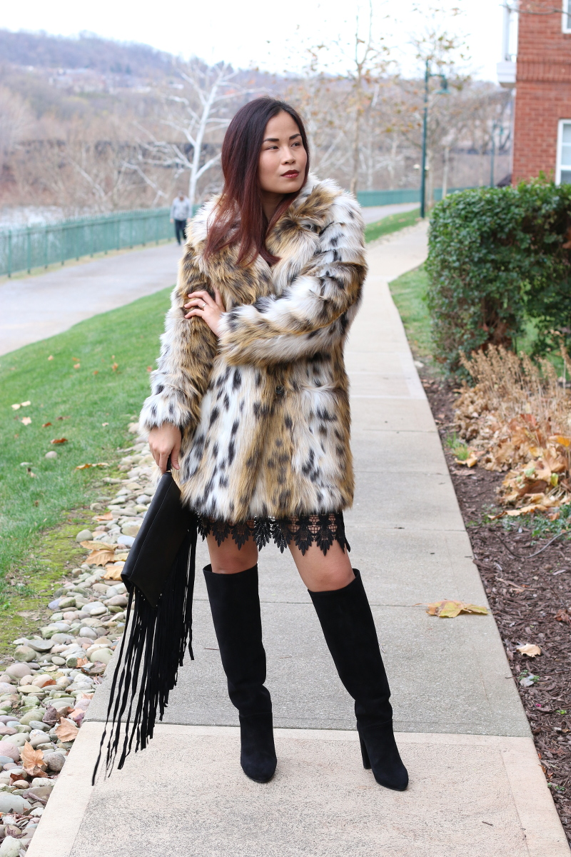 Topshop Holiday Dress, Outfit, leopard coat