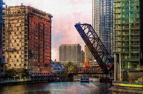 chicago water buildings illinois scaffolding bridges textures rivers chicagoriver impression