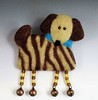 Zebra Dog Brooch wet and needle felting