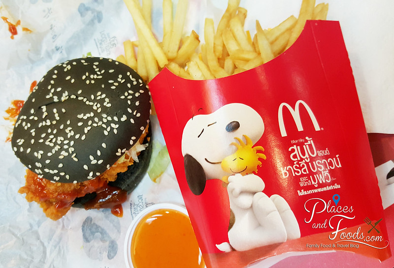 thai mcdonalds snoopy black burger