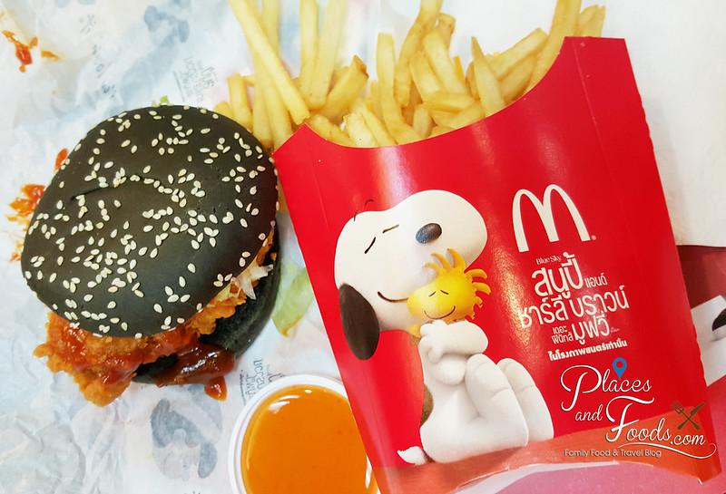 thai mcdonalds snoopy black burger