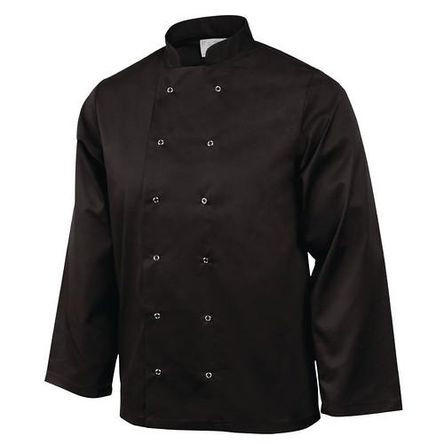 01C. Chef Jacket-Black-Long Sleeve
