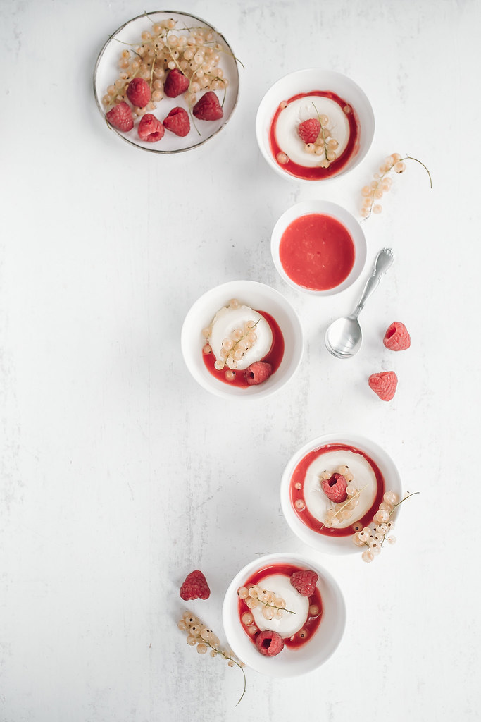 Vanilla Creme Pots with A White Currant & Raspberry Sauce