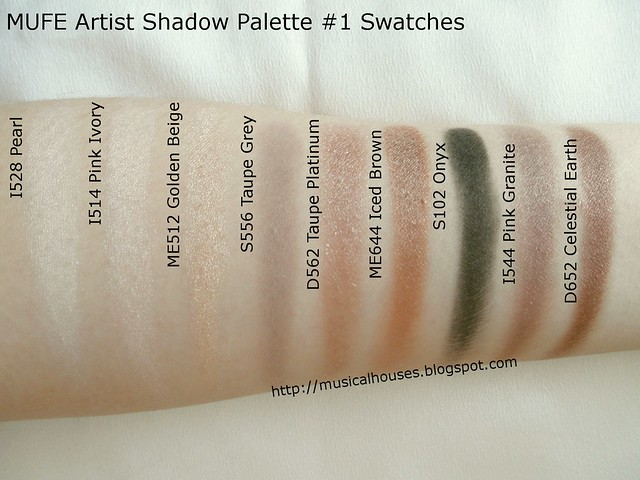 MUFE Artist Shadow Palette 1 Swatches