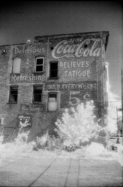 Coca-Cola ghost sign in Kodak HIE infrared