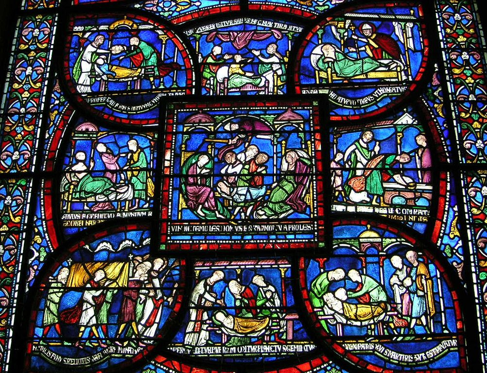 Canterbury Cathedral- stained glass window- detail showing miracles of healing