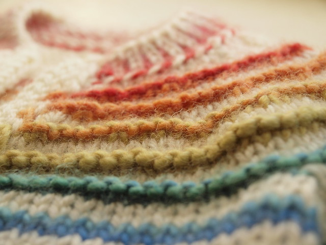 rainbow garter ridges in the yoke