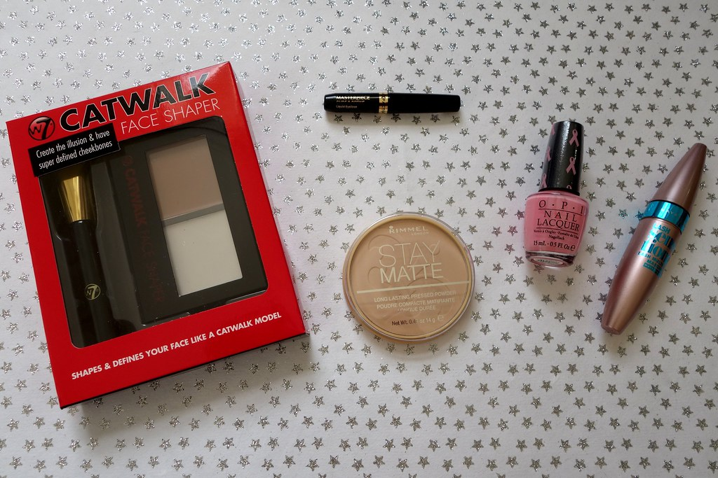 JustMyLook.Co.UK Secret Santa: Maybelline Lash Sensational Mascara, Rimmel Stay Matte Powder, OPI Pink-Ing of You and Max Factor Glide & Define Eyeliner, W7 Contouring Kit
