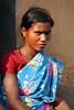 Local tattooed woman in the tribal village of Bantalbiri, Odisha