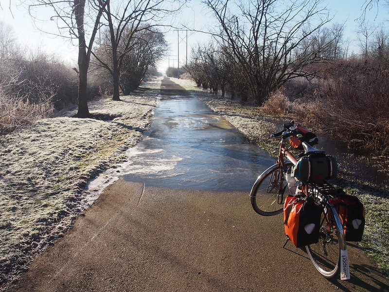 More Ice on the Interurban Trail: After seeing more of this, I gave up and turned back.