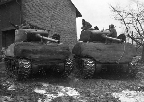 M4A3  Sherman's  in the German city of Schleiden 1945.