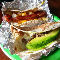 Taco norteño y papas con bacon #texmex #loveisreal