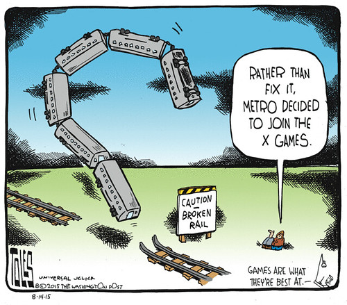 Tom Toles editorial cartoon, WMATA derailment, 8/14/2015