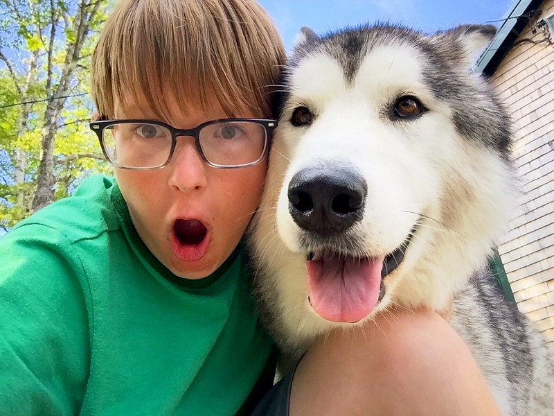 day 4054 - odin and frida selfie at camp.