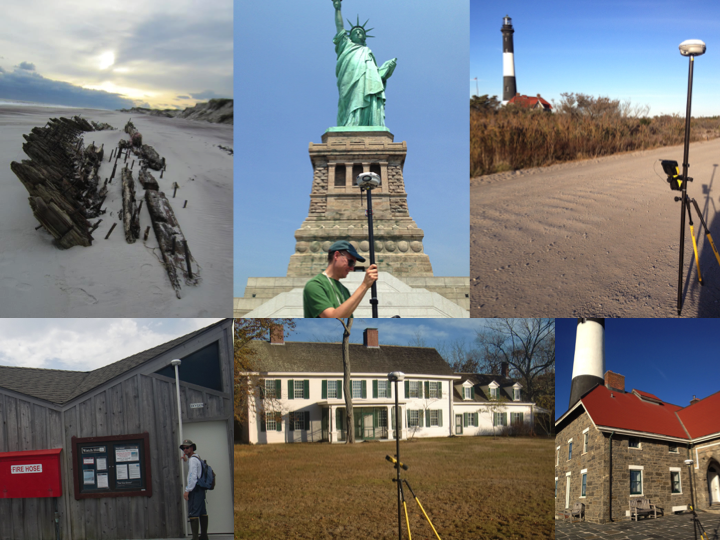 The GPS SWAT Team has collected elevation data on the first floors of park offices and operations facilities, at historical sites, and for cultural resources like the Statue of Liberty, the remnants of the Bessie White shipwreck at Fire Island, and the Fire Island Lighthouse, which still casts light across more than twenty miles of open sea. NPS photos.