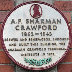 Photo of A.F. Sharman Crawford white plaque