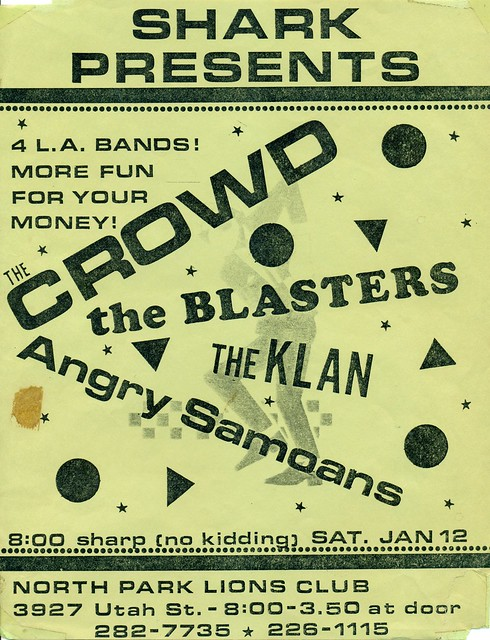 The Crowd, The Blasters, The Klan, & Angry Samoans at North Park Lions Club, San Diego, CA 1980