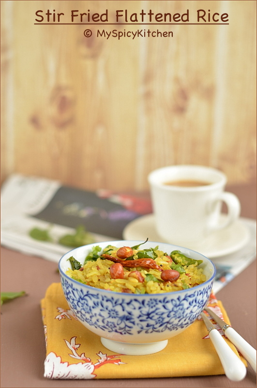Poha, Pohe, Atukulu, Flattened Rice, Beaten Rice, Breakfast, Indian Breakfast, Snack, Blogging Marathon, Buffet On Table,
