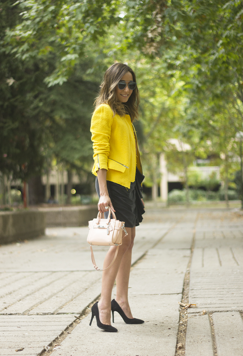 Yellow Jacket Draped Grey Skirt Outfit05