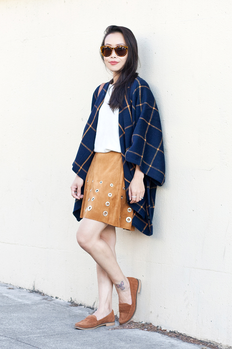 03-plaid-poncho-suede-grommet-skirt