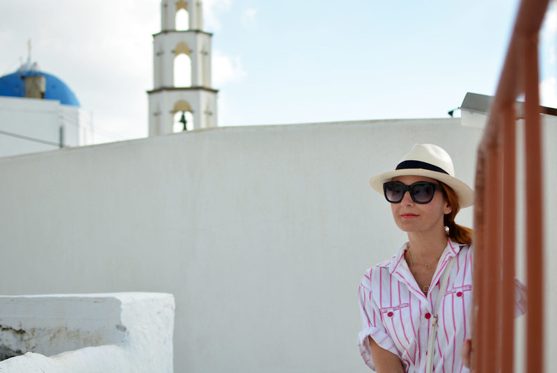 Vintage DVF pink and white striped jumpsuit | Location: Santorini