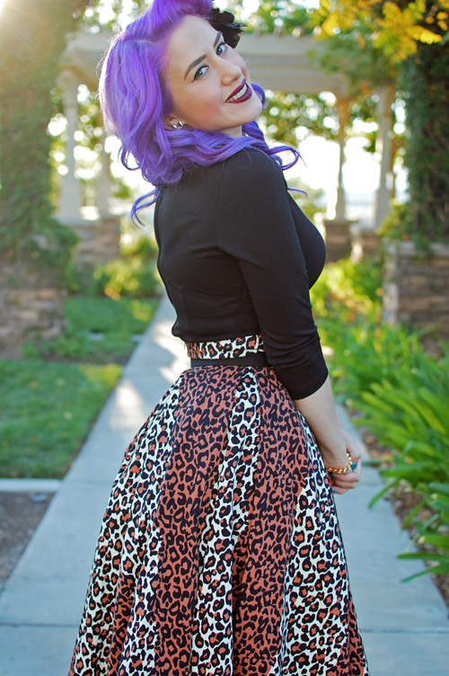 Pinup Girl Clothing Deadly Dames Kinky Box Skirt in Leopard Print Laura Byrnes Sabrina Top in Black
